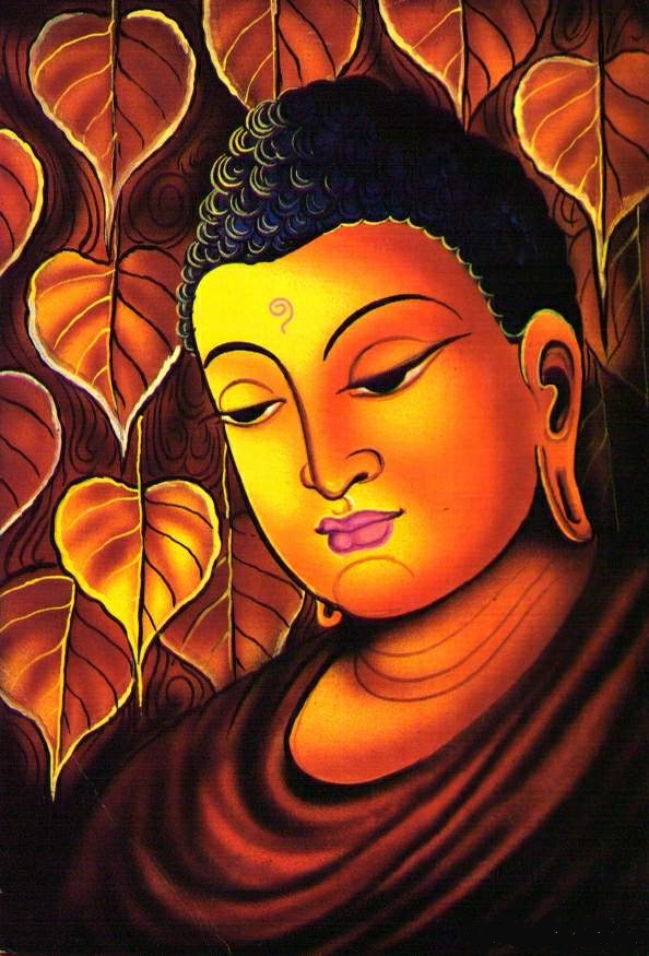 glass paintingof lord buddha creative art