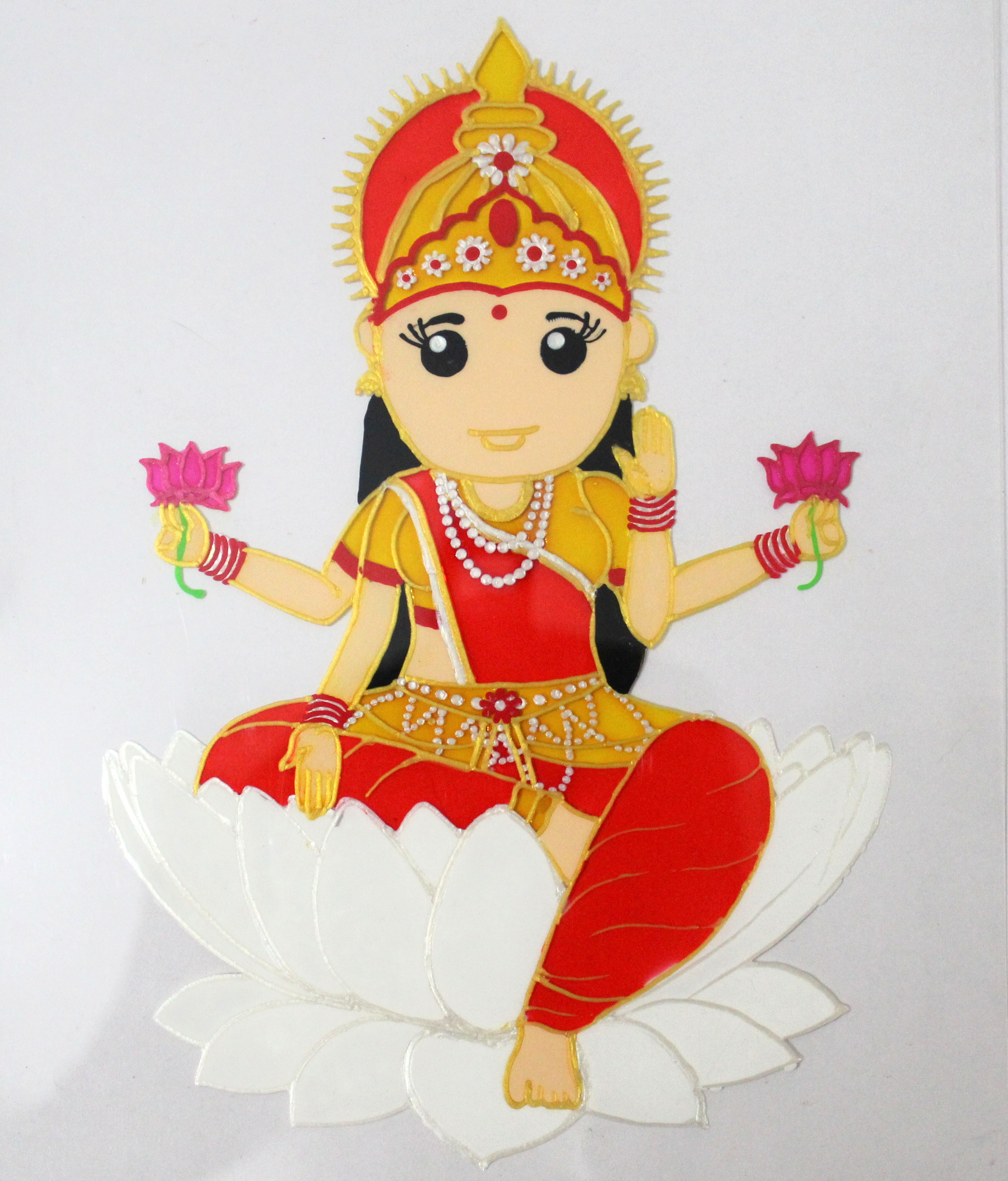 Maa lakshmi glass painting for beginners