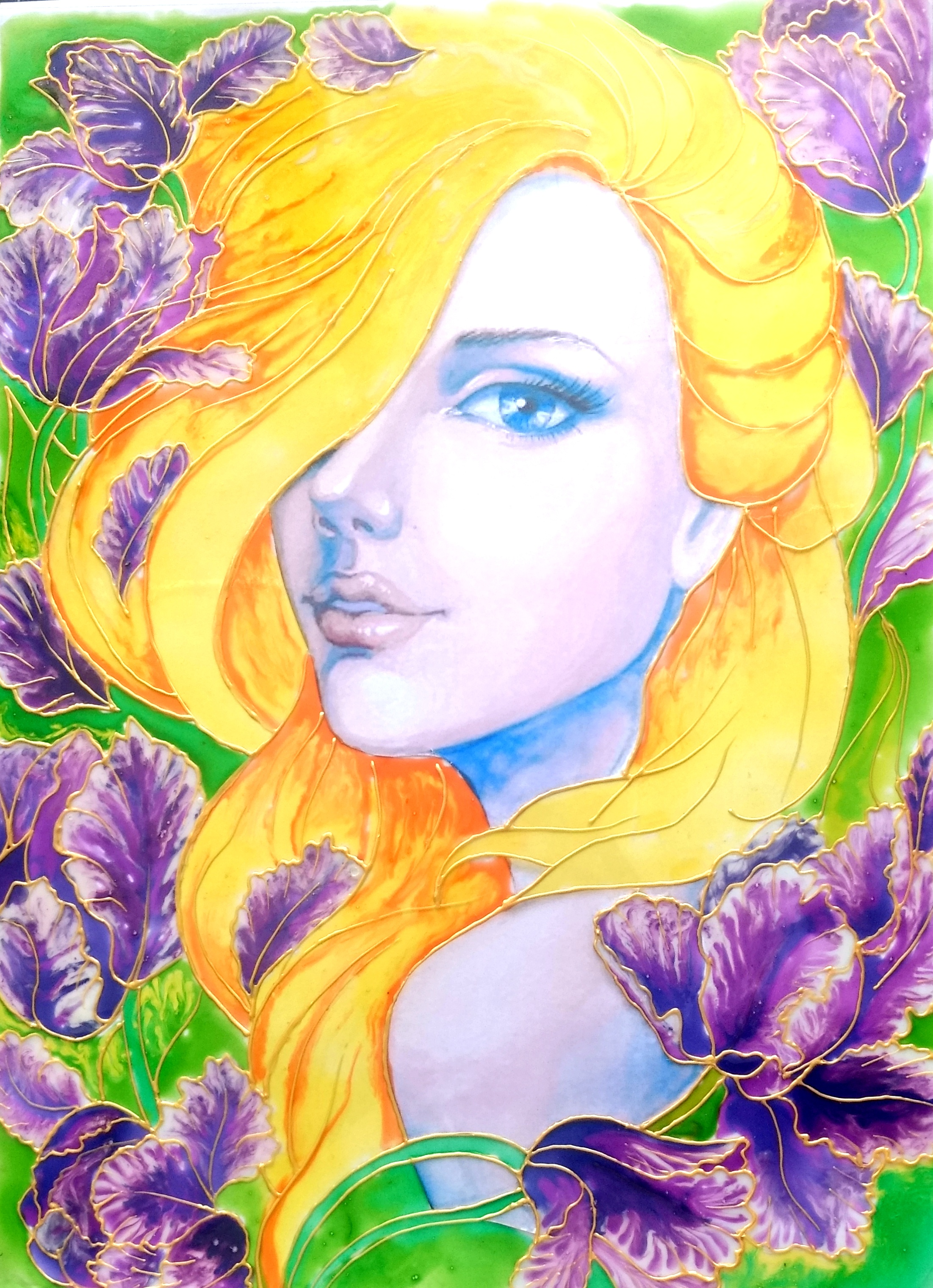 Glass Painting Of Orchid Lady Creative Art