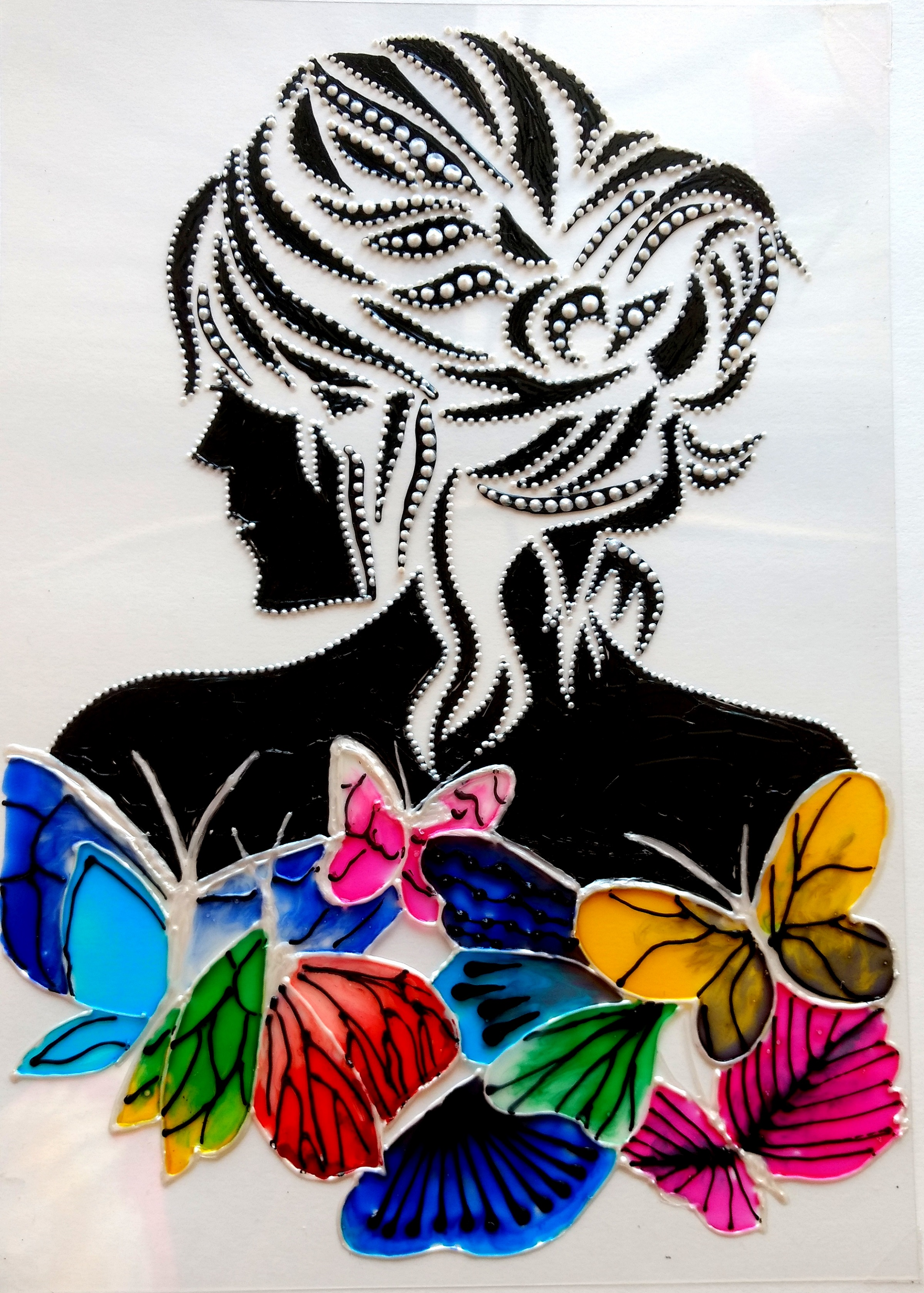 Glass painting lady with butterflies creative art for Creative paintings pictures