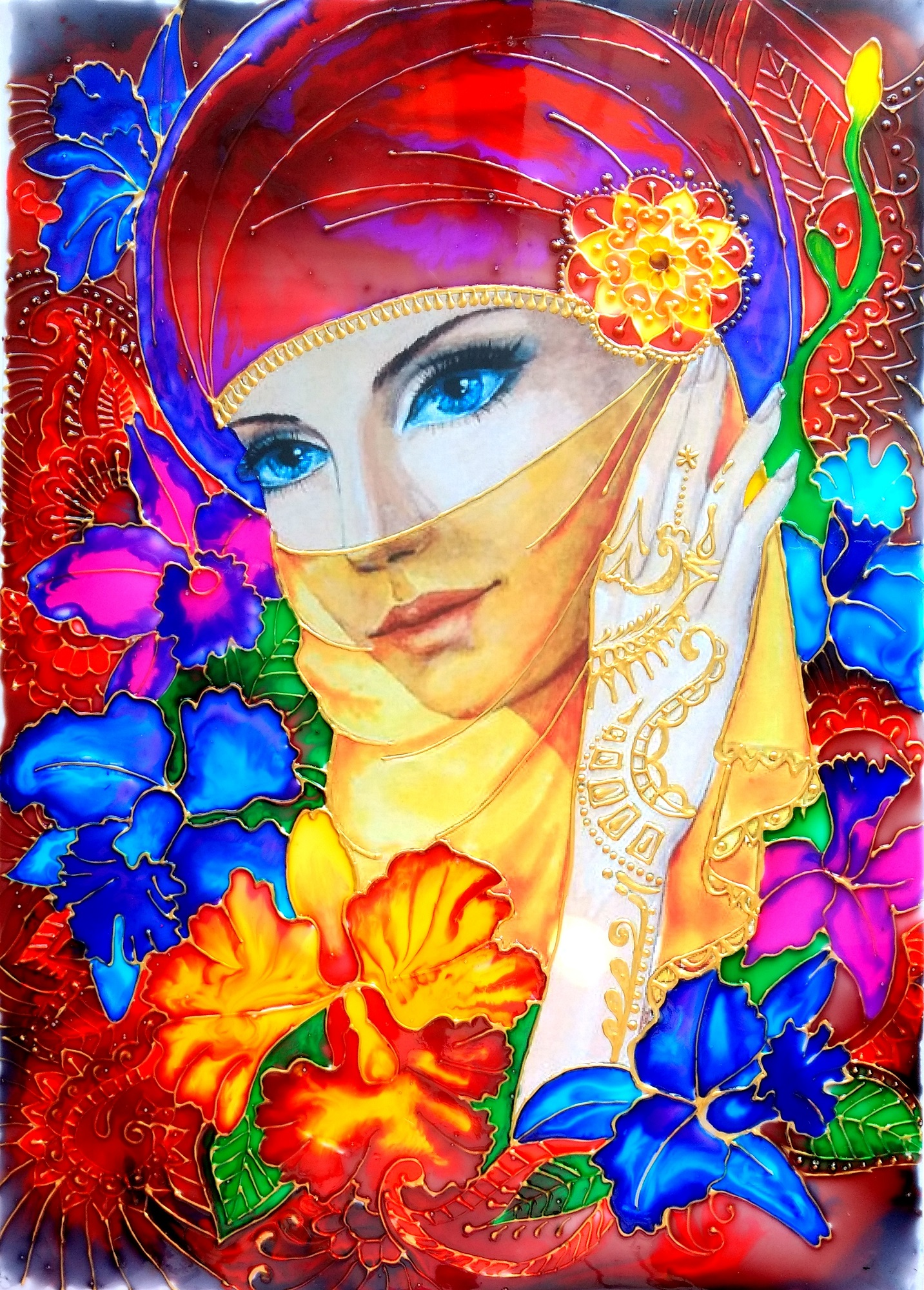 Glass painting of a beautiful lady covering her face for Beautiful creative art