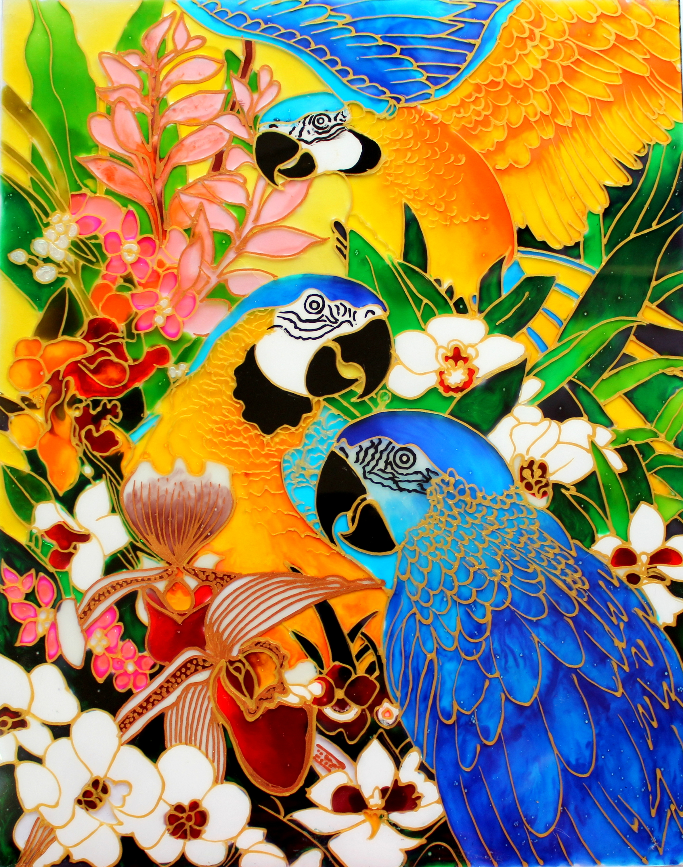 Glass Painting Of Macaw Parrots Creative Art